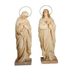 Late 19th century Lifesized Religious Angel Saint Statues