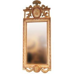 Wall Mirror Washed Giltwood Frame Gustavian Period Sweden