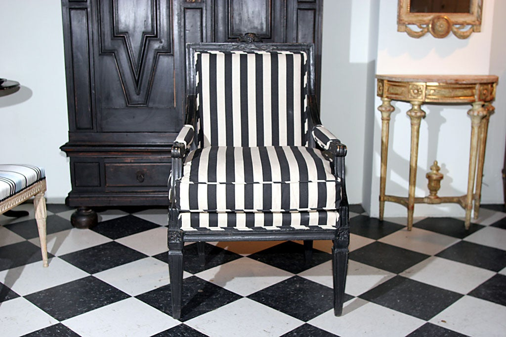 Painted Armchair Swedish Gustavian 19th century Sweden For Sale
