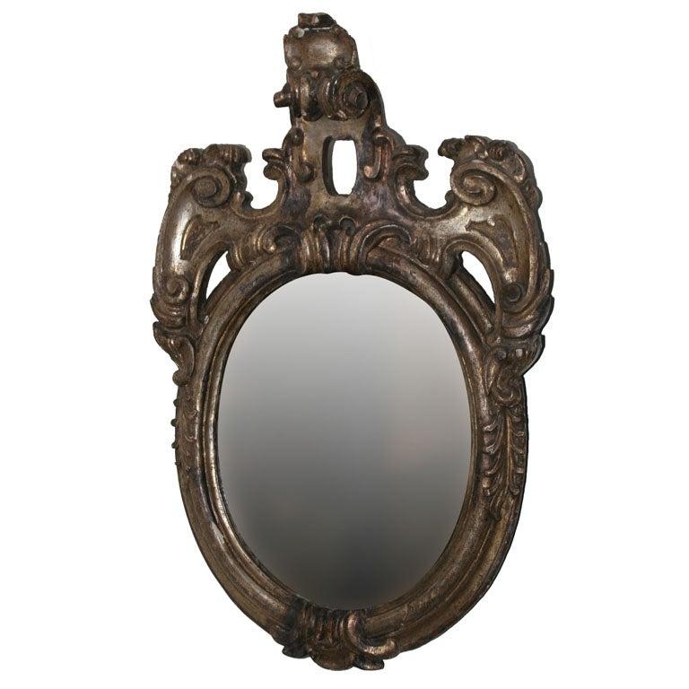 Wall mirror silver leaf baroque period italy for sale at for Baroque oval wall mirror