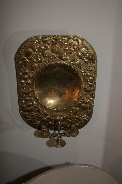 Large Swedish Baroque Brass Wall Sconce at 1stdibs