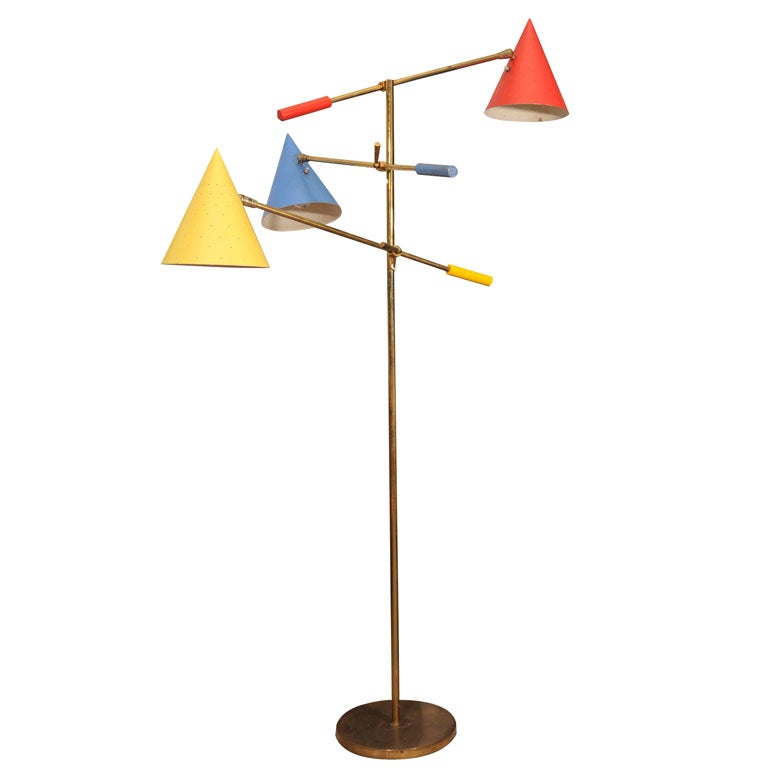 3 arm articulated 195039s brass floor lamp mfg by for Led articulated floor lamp