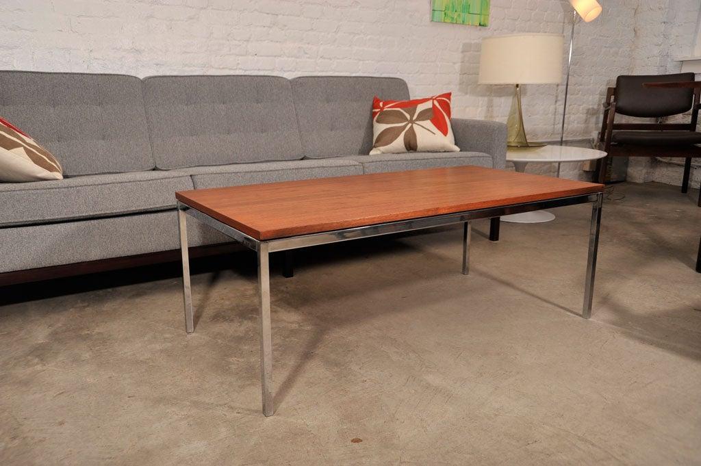Florence knoll walnut and chrome coffee table early label - Florence knoll rectangular coffee table ...