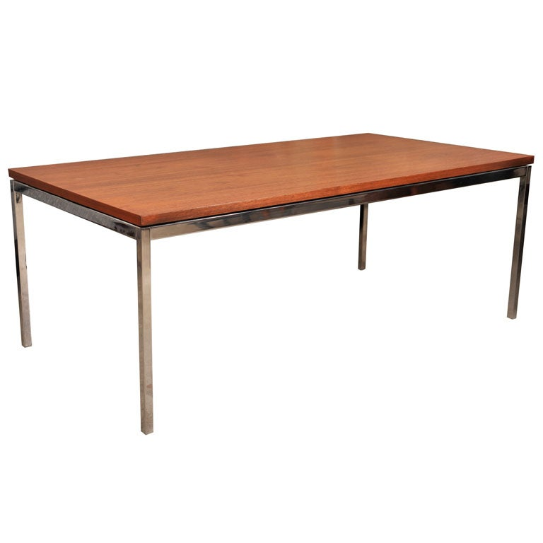 Florence Knoll Walnut And Chrome Coffee Table Early Label At 1stdibs