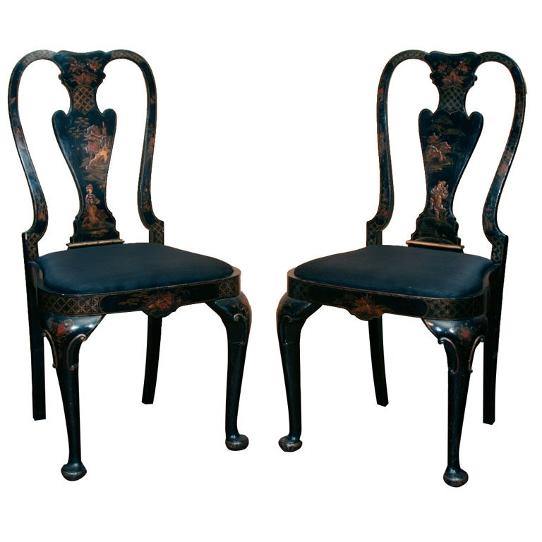 Pair Queen Anne Style Chinoiserie Side Chairs Circa 1860