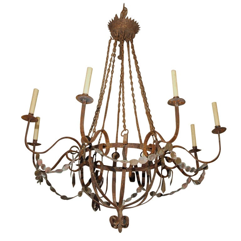 Chandeliers rustic iron rustic chandelier at 1stdibs 12 for Rustic wire chandelier