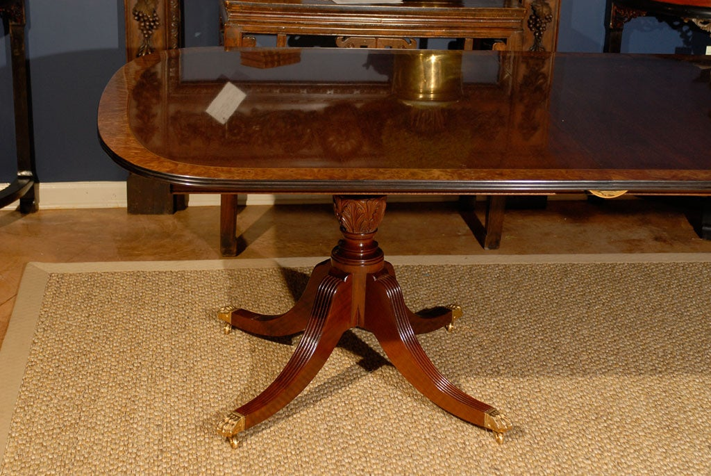 double pedestal sheraton mahogany dining table w burled banding image