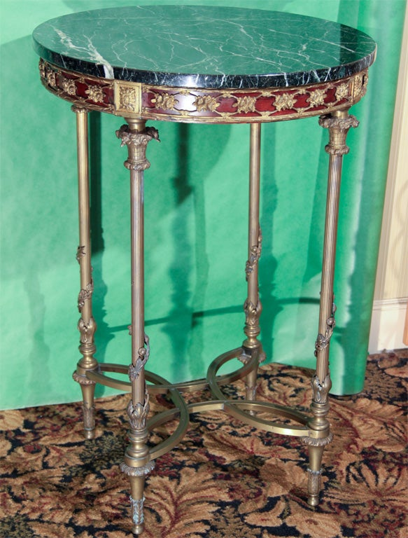 Round brass/marble top side table image 2