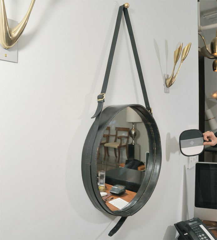 Leather Pair of large Jacques Adnet mirrors