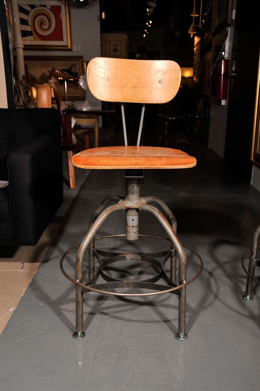Set Of Vintage Toledo Industrial Stools With Wide Base At