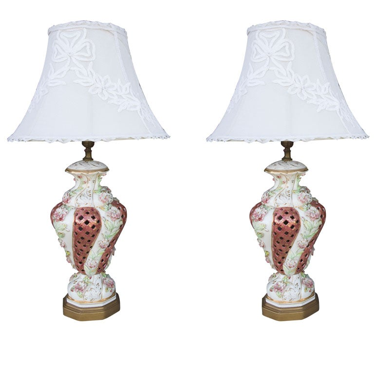 Pair Vintage Capodimonte Lamps At 1stdibs