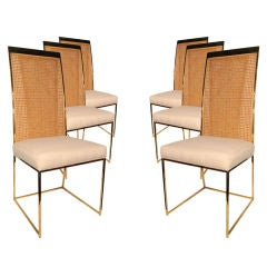 Set of 6 Brass Framed Dining Chairs by Milo Baughman