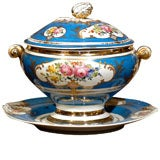 French Blue Soup Tureen with its Platter Adorned with Floral Décor, circa 1880