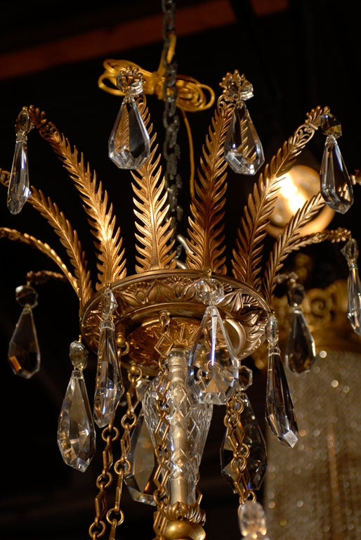 Antique Chandelier. Empire style chandelier In Excellent Condition For Sale In Atlanta, GA