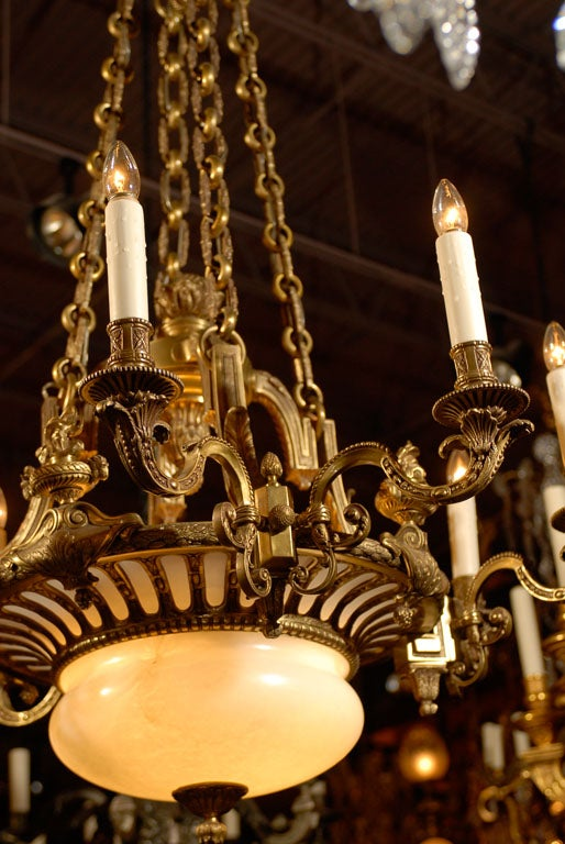 Antique chandelier gilt bronze and alabaster chandelier for sale at french antique chandelier gilt bronze and alabaster chandelier for sale aloadofball Image collections