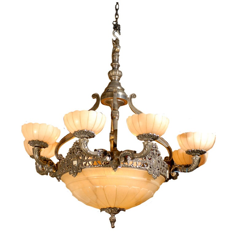 Antique Chandelier. Silver over bronze and alabaster chandelier For Sale - Antique Chandelier. Silver Over Bronze And Alabaster Chandelier For