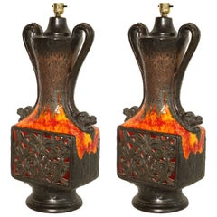 Vallaurice France Ceramic Table Lamps in Orange, Brown & Yellow - Pair