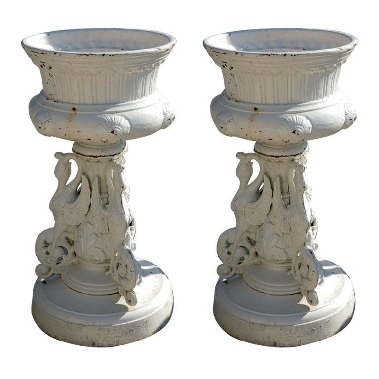 Pair of Victorian Kramer Ohio Garden Urns