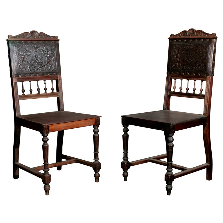 Vintage Leather Dining Chairs antique embossed leather dining chair at 1stdibs