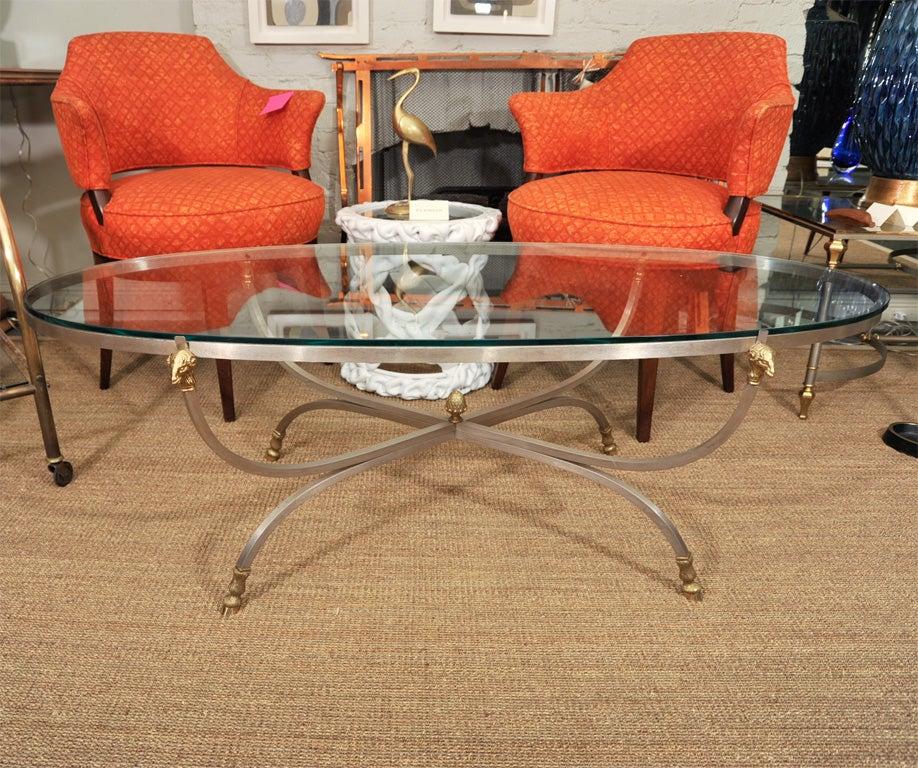 Narrow Rectangular Brass And Marble Coffee Table By Edward: Brass And Nickel Oval Coffee Table With Rams Head At 1stdibs