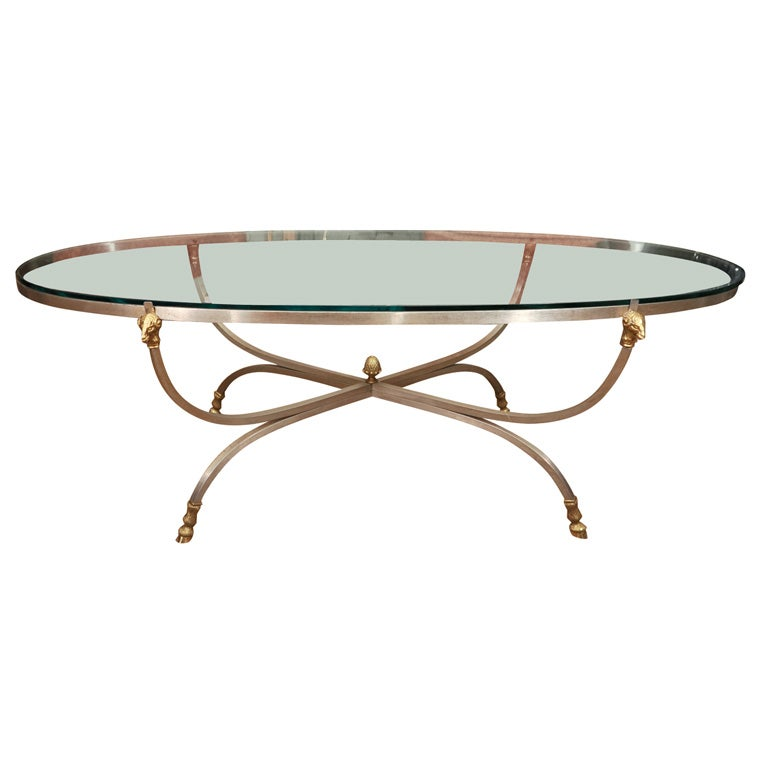 Brass And Nickel Oval Coffee Table With Rams Head At 1stdibs