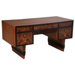 Italian Burl Walnut, Walnut and Ebonised Desk, Tomasso Buzzi