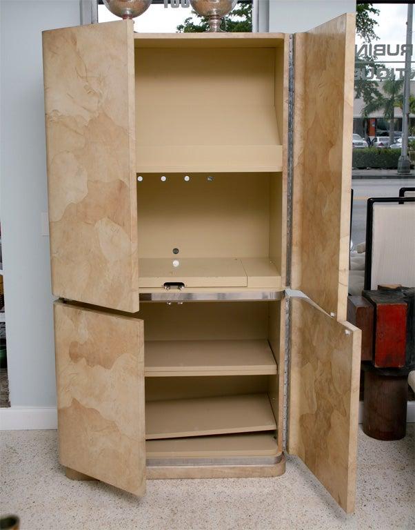Mid-Century Modern Rare Karl Springer Goatskin, Stainless Four-Door Tall Cabinet For Sale