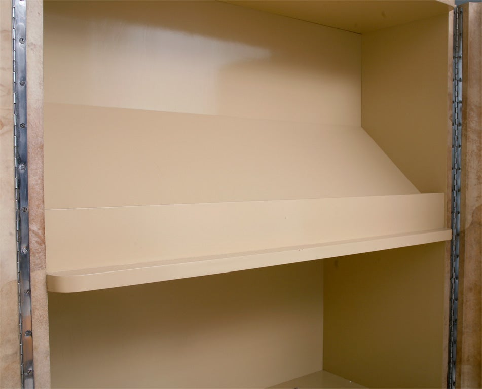 American Rare Karl Springer Goatskin, Stainless Four-Door Tall Cabinet For Sale