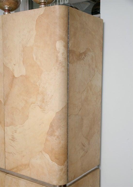 Stainless Steel Rare Karl Springer Goatskin, Stainless Four-Door Tall Cabinet For Sale