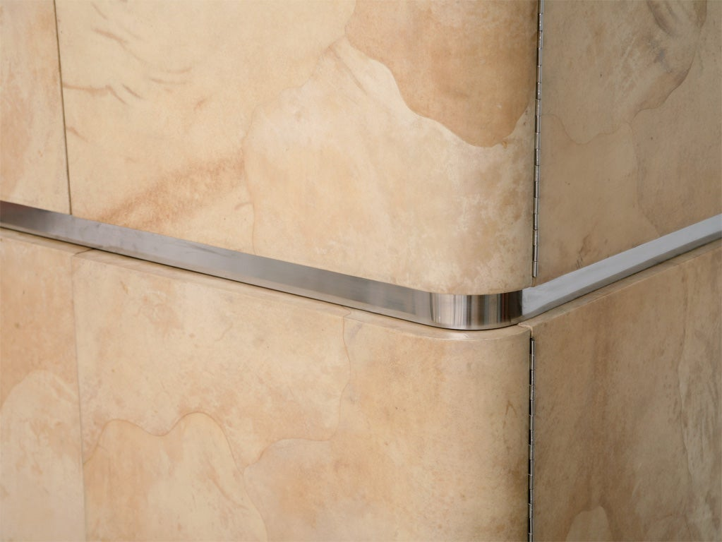 Rare Karl Springer Goatskin, Stainless Four-Door Tall Cabinet For Sale 1