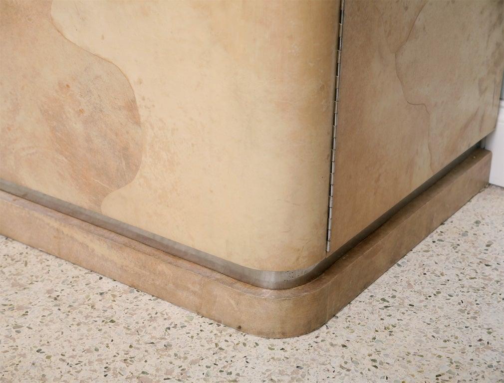 Rare Karl Springer Goatskin, Stainless Four-Door Tall Cabinet For Sale 2