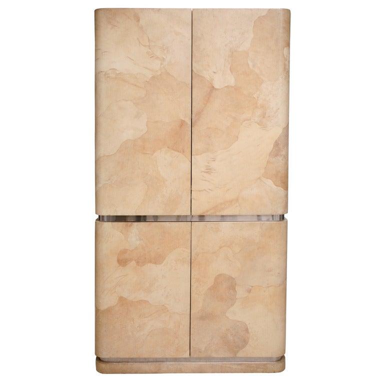 Rare Karl Springer Goatskin, Stainless Four-Door Tall Cabinet