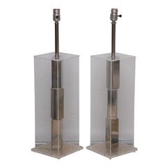 Pair of Lucite and Polished Chrome Lamps