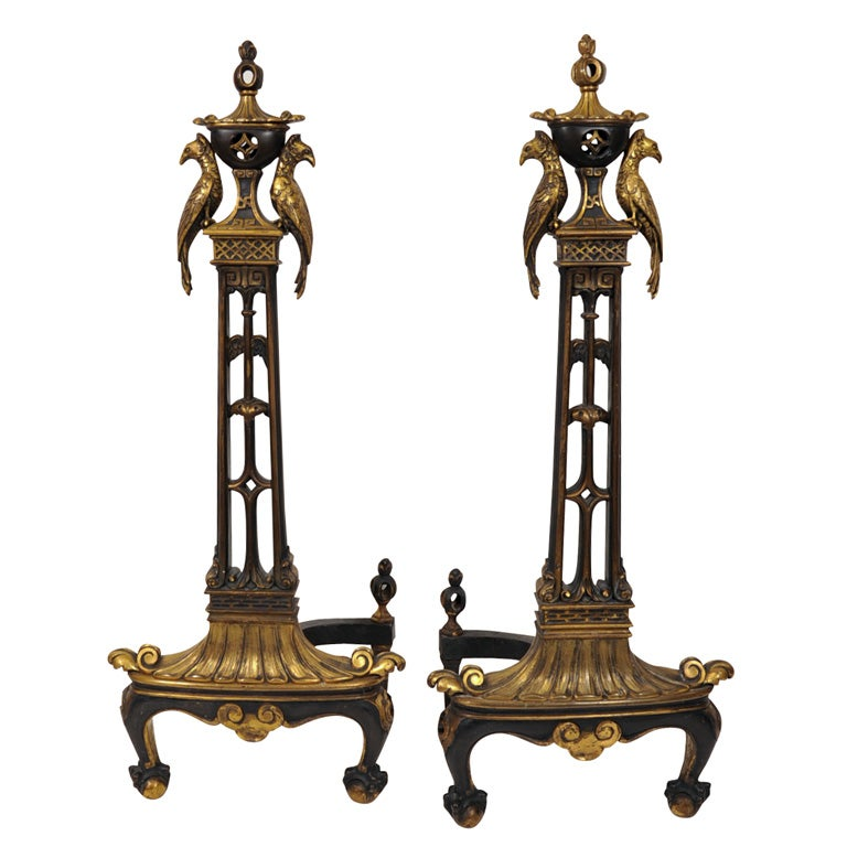 Pair of Antique Patinated Bronze Andirons with Exotic Birds