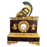 French Empire Style Bronze & Faux Porphyry Mantle Clock