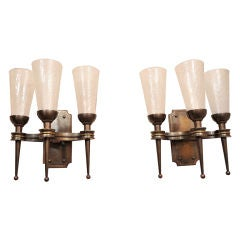 Pair of Monumental 1940s Wall Sconces