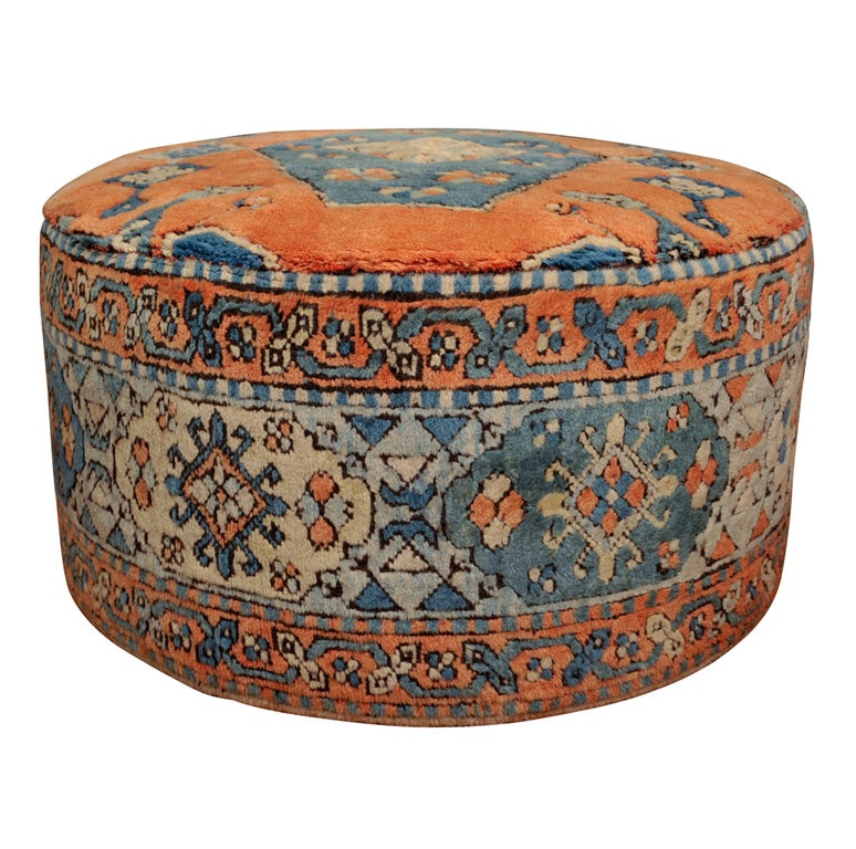 Persian Rug Covered Ottoman On Wheels At 1stdibs