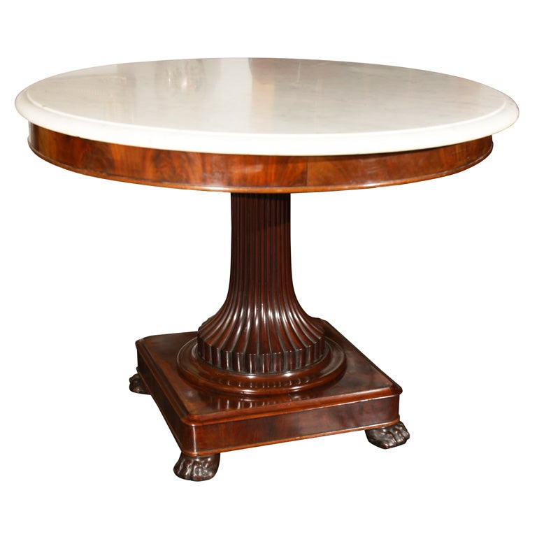 Dutch Marble-Top Center Hall Table