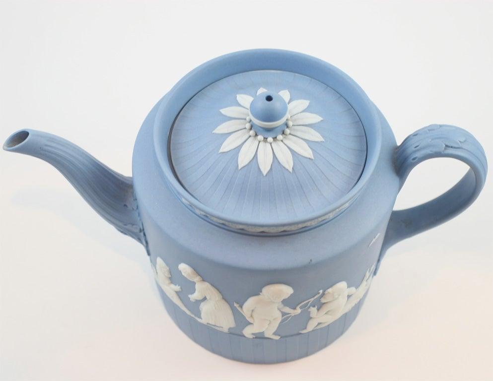 Wedgwood Blue And White Jasper Teapot At 1stdibs