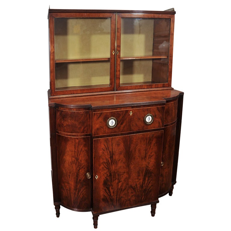 Early 19th Century Mahogany Breakfront Display Cabinet 1