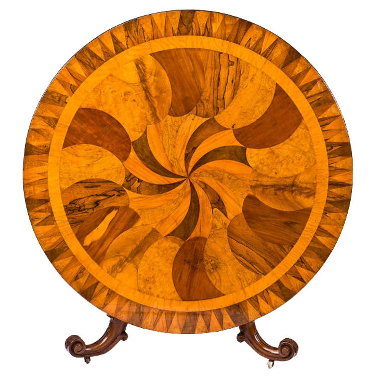 Irish Specimen Table with a Marquetry Top of Various Woods 1