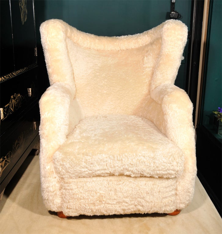 Mohair Upholstered Armchair By Jean Royere French 1940s