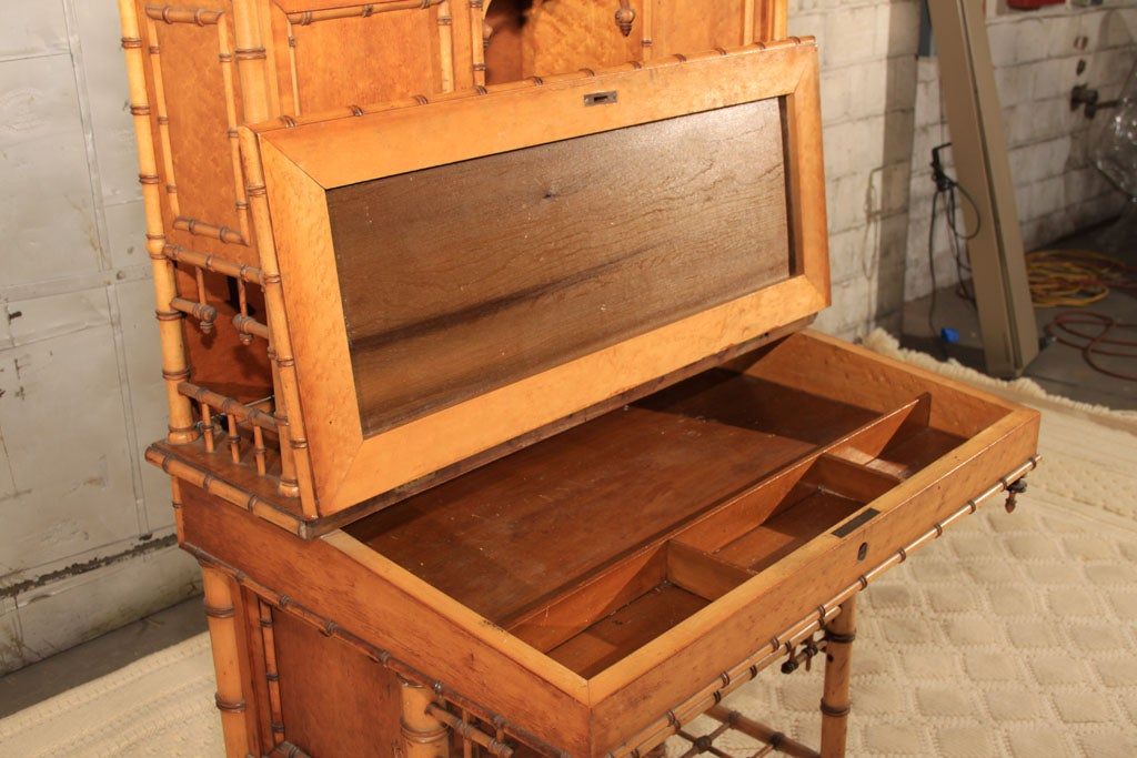 19th Century American Carved Faux Bamboo Secretary Desk For Sale