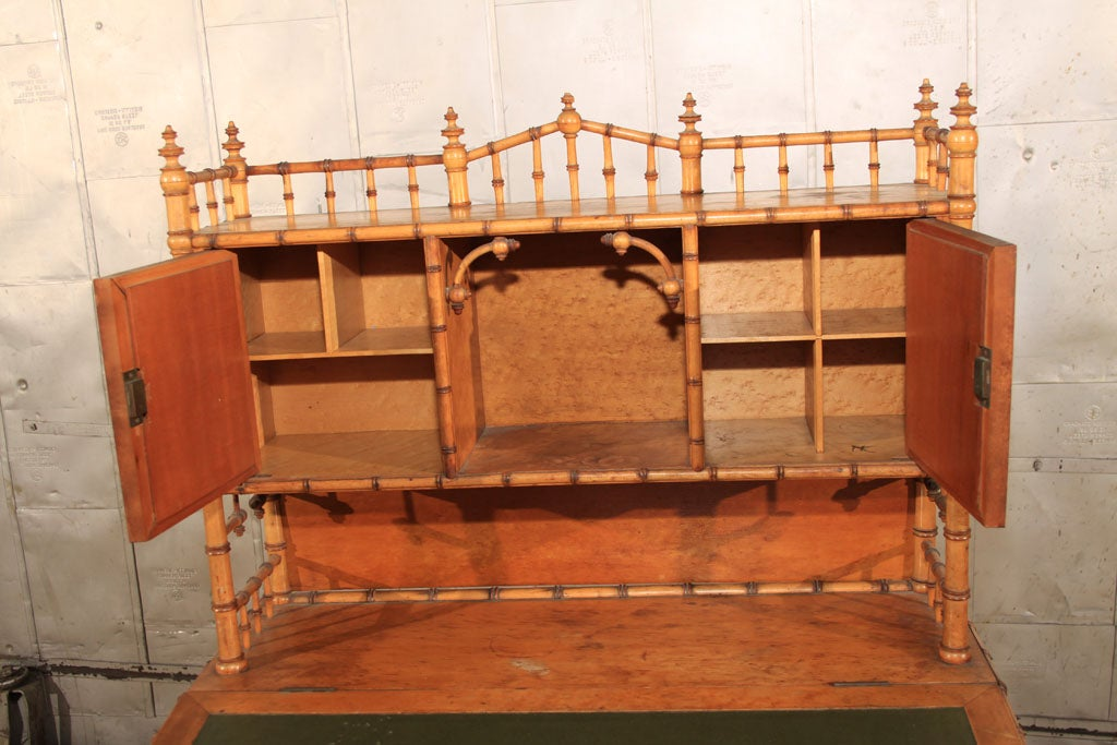 Wood American Carved Faux Bamboo Secretary Desk For Sale