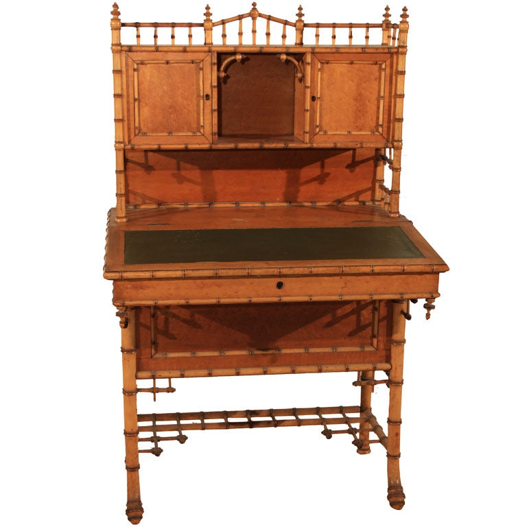 American Carved Faux Bamboo Secretary Desk For Sale