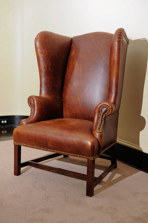 Georgian Style Wing Chair in Leather 7