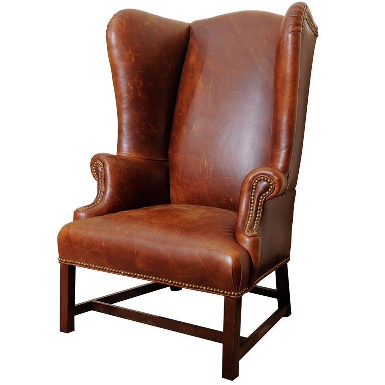 Georgian Style Wing Chair in Leather 1