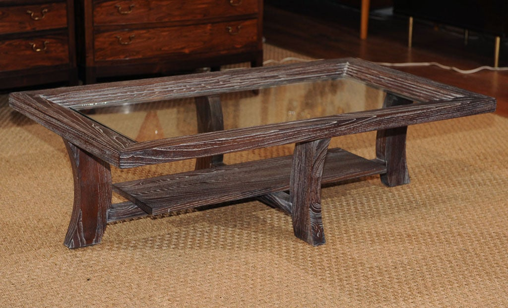 Paul Frankl design limed oak coffee table with glass top. Completely restored. Net $2400.00 previously $4500.00.