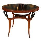 French Leather Top Center Table