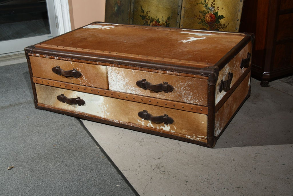 Cowhide Leather Trunk Coffee Table 2
